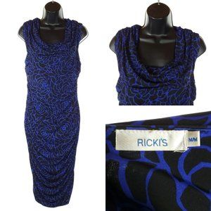 RICKI'S Body Con Dress Ruched Patterened Stretch